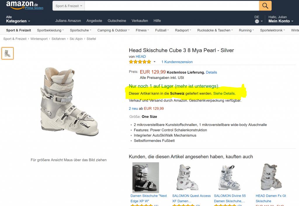 Amazon Lieferung in die Schweiz.