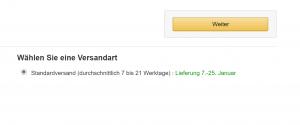 Lieferdauer von Bestellung bei Amazon in die Schweiz