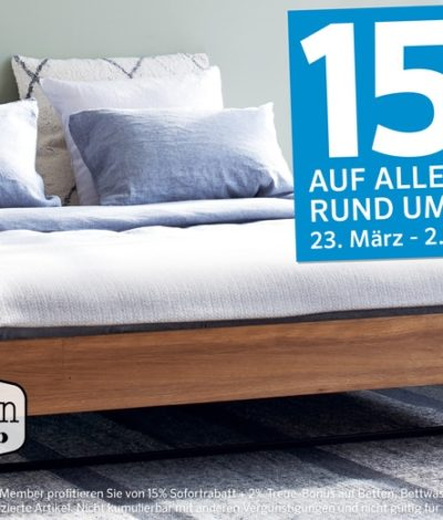 15 rabatt auf alles rund ums schlafen bei interio preispirat. Black Bedroom Furniture Sets. Home Design Ideas