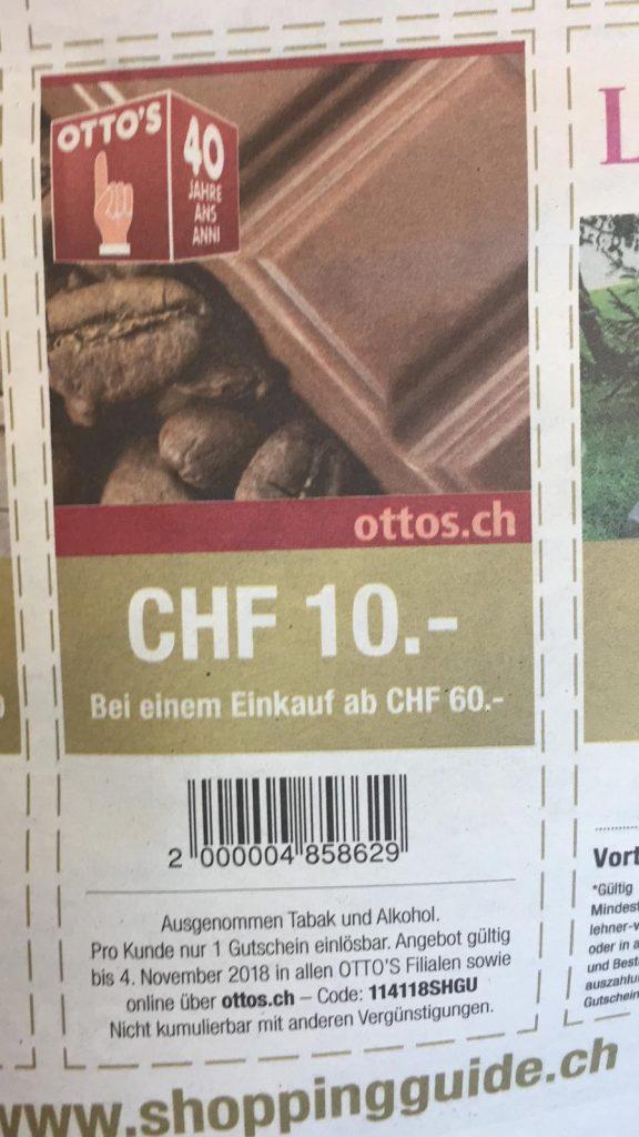 10 Franken Geschenkt Bei Ottos Ab 60 Franken Einkauf Preispirat