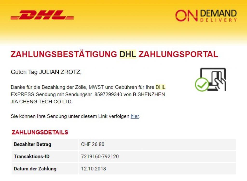 Zollkosten DHL