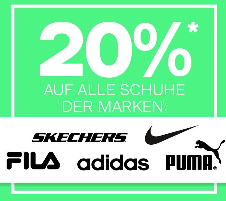 20% auf adidas, Nike, Fila, Skechers und Puma bei Dosenbach