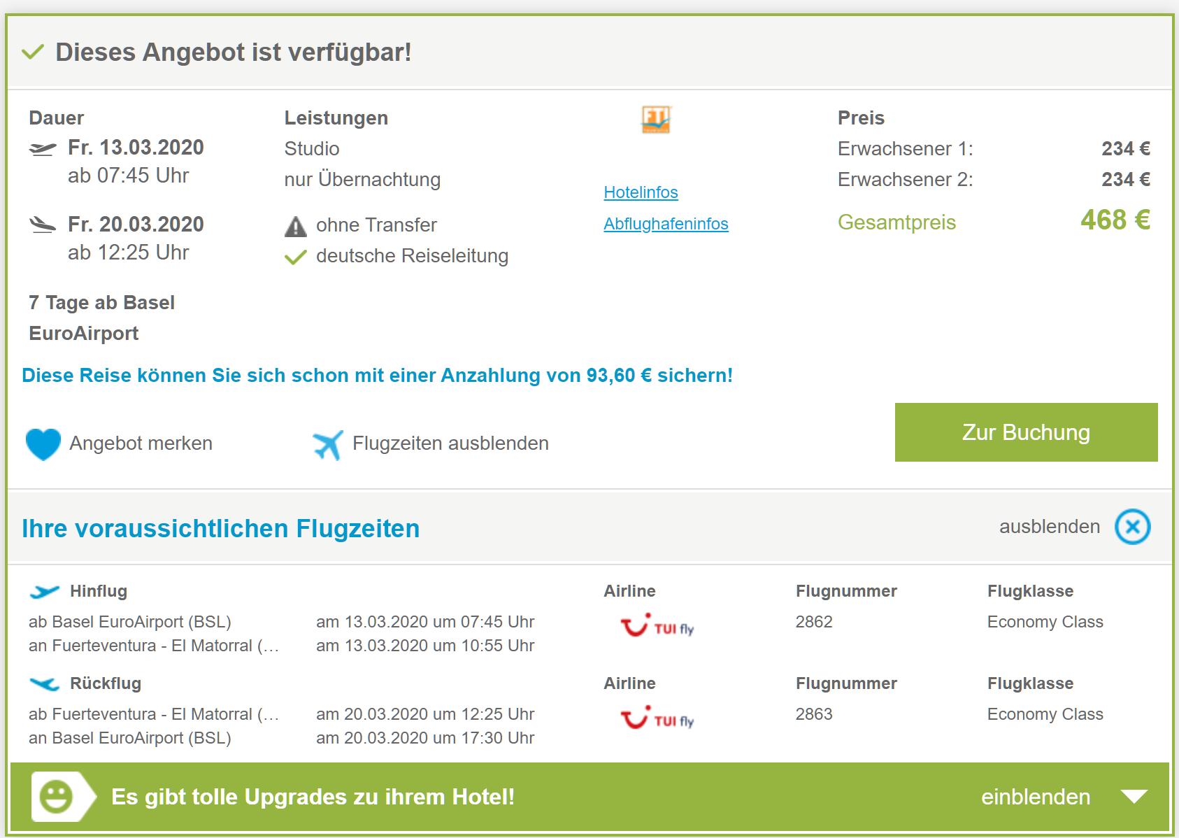 7 Tage Fuerteventura inkl. Hotel und Flug für 324 EUR pro Person