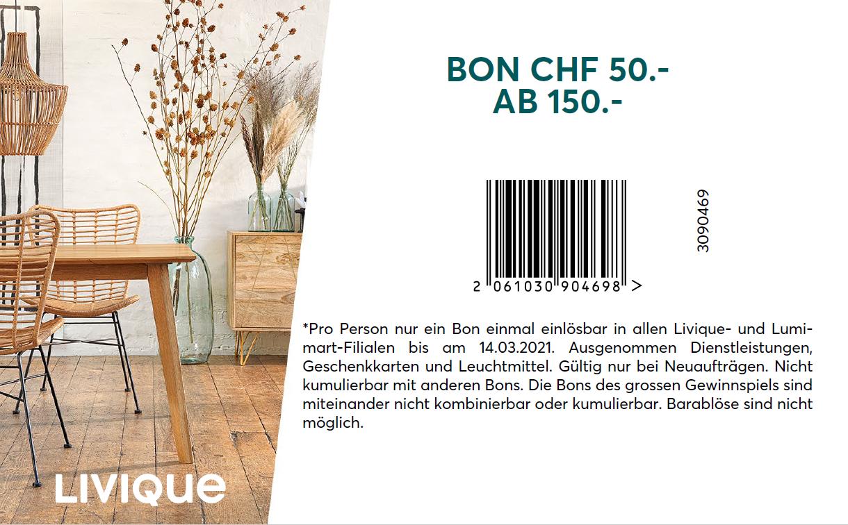 Livique Bon 50.- ab 150.-