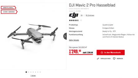 Mavic 2 Pro + gratis Akku bei Interdiscount