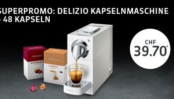 Delizio Una White + 48er Box Kapseln für CHF 39.70