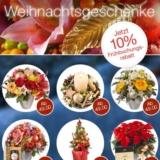 """10% auf alle Bestellungen zu Weihnachten bei Fleurop, z.B. Bouquet """"Edle Sternstunden"""" für CHF 85.50 statt CHF 95.-"""