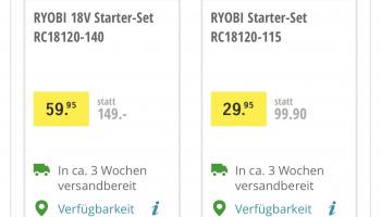 Ryobi Starter Set (Akku + Ladegerät) bei Coop Bau+Hobby