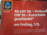 (Lokal) Aldi Suisse 10 CHF Gutschein bei 50 CHF Einkauf heute in AaA
