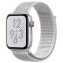 APPLE Watch Nike+ GPS + Cellular (Series 4), 44mm Aluminiumgehäuse, Silber mit Nike Sport Loop, Summit White