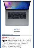 Apple MacBook Pro 15' 2019 Retina, i7, 32gb,  1000GB SSD
