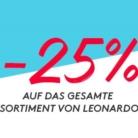 25% auf alles von Leonardo bei siroop.ch, z.B. Leonardo Wasserkaraffe Primo 1 Liter für CHF 36.- statt CHF 48.-
