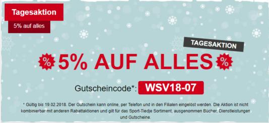sport-tiedje.ch 5 % Rabatt auf das gesamte Sortiment