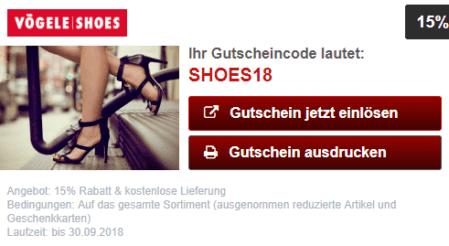 15% Rabatt und kostenlose Lieferung bei Vögele Shoes