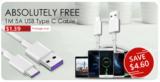 1m USB Type-C 5A Kabel bei Zapals im Freedeal
