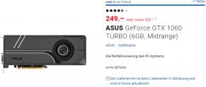 ASUS GeForce GTX 1060 TURBO (6GB, Midrange)