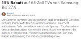 15% auf alle 65″ TVs von Samsung bei Digitec