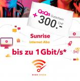 Sunrise Internet bis zu 1 Gbit/s für CHF 39.-/Monat