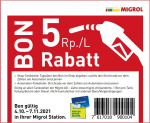 Migrol 5 Rappen pro Liter Benzin oder Diesel / Gutschein Oktober 2021