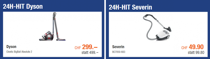 24h-Hits bei melectronis (Dyson Cinetic BigBall Absolute 2 und Severin BC7050-683 Staubsauger)