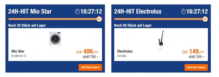 24H-Hit bei Melectronics / Mio Star Waschmaschine / Electrolux Besenstaubsauger