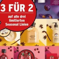 3 für 2 bei ausgewählten Produkten bei The Body Shop, z.B. 3x Frosted Plum Soap für CHF 6.- statt CHF 9.-