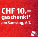 Aldi: Samstag 06.07. CHF 10.- geschenkt ab einem Einkauf von CHF 50.-