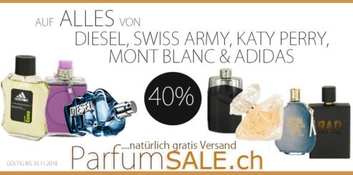 40% Rabatt auf Diesel, Adidas, Swiss Army, Mont Blanc und Katy Perry bei Parfumsale