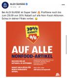30% auf alles Non-Food (sale Artikel) bei Aldi