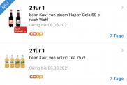 """2 für 1 """"Happy Cola"""" und """"Volvic"""""""
