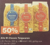 Jetzt gültig – 50% auf M-Classic Teigwaren
