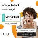 Wingo Swiss Pro (unlimitierte Daten, Telefonie) sowie 1GB Roaming/100 Minuten Roaming-Telefonie