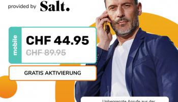 Salt Europe XXL für CHF 44.95 (+ Cashback und Gutschein) bei alao