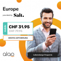 Salt Europe (alles unlimitiert in EU) bei alao für CHF 30.90 + CHF 100.- Brack Gutschein