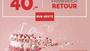 CHF 40.- Hin- und Rückfahrt nach Paris (gültig nur heute 21.10)