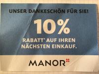Manor 10% Rabatt Gutschein gültig bis 31.12.2019
