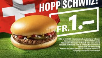 Hopp Schwiiz – McDonalds Hamburger für CHF 1.-
