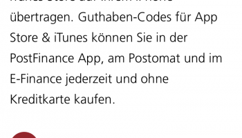 PostFinance: iTunes Karten 100.- & 15%