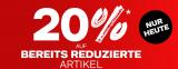 Dosenbach: 20% auf bereits reduzierte Artikel (nur heute)