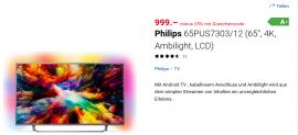 Philips 4K 65 Zoll Fernseher inklusive 25% Rabatt bei digitec