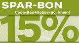 15% Rabatt ab CHF 75.- bei Coop bau+hobby (Anmeldung notwendig!)