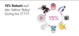 15% Rabatt auf alles aus dem Sektor Baby&Kind bei Galaxus