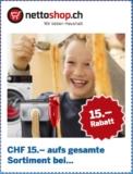 15.- ab 100.- Bestellwert Gutschein bei nettoshop.ch