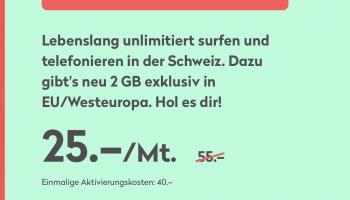 Wingo Fair Flat – Schweiz Unlimitiert – NEU: 2GB pro Monat in EU inklusive – Lebenslang