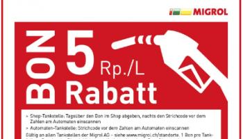 5 Rp./L Treibstoff Rabatt Migrol schweizweit