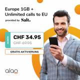Salt Europe 1GB (unlim. Schweiz, 1GB Roaming in EU, unlim. Anrufe nach/in EU, 5G inkl.) bei Alao