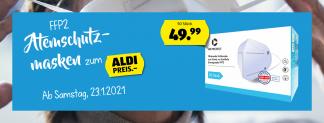 50x FFP2 Atemschutzmasken für 49.99 CHF ab morgen Samstag bei Aldi