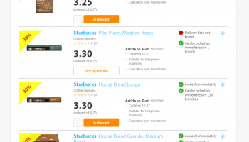 Starbucks Coffee (Capsules & Beans) with 30% discount at Fust