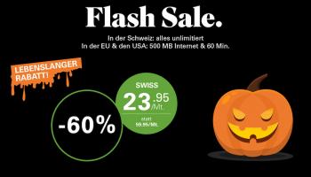 60% Halloween Salt Swiss Aktion + gratis SIM Karte