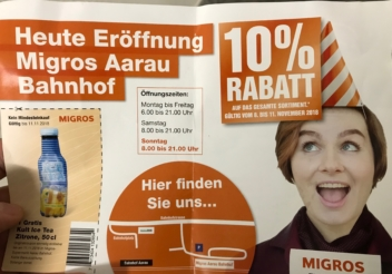 Migros Aarau, 8-11.November, 10% Rabatt, Neueröffnung